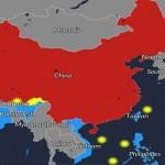 Mapa sobre los territorios en conflicto de China con otros países