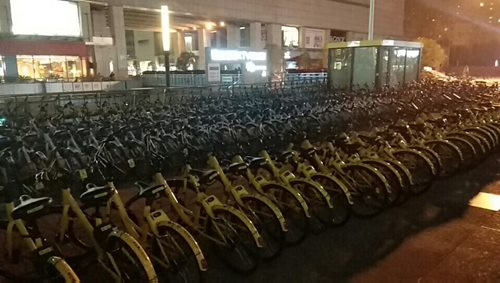 bicicletas aparcadas en china